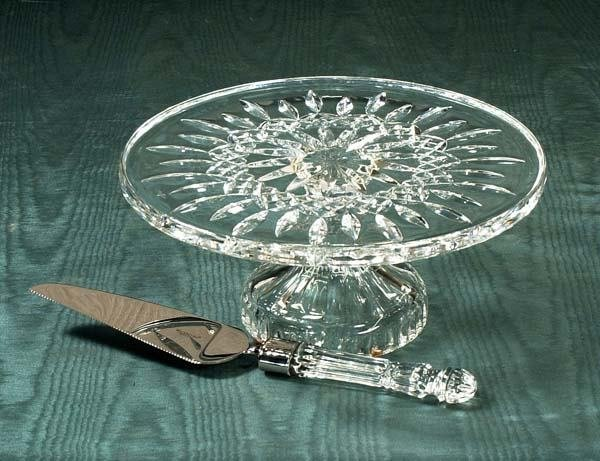 467: Waterford cut crystal cake stand and a Waterford c