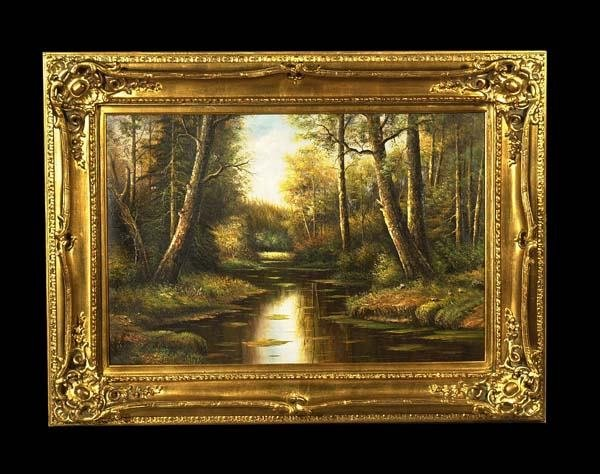 471: Oil painting on canvas, English landscape with str
