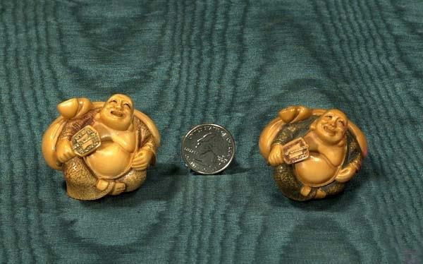 1007: Two Chinese carved netsukes with stands