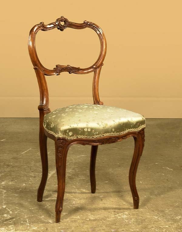 1012: French Victorian carved walnut side chair, c.1880