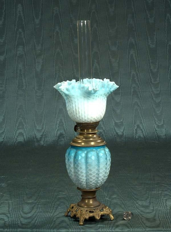 1014: Blue satin glass oil lamp with shade, c.1880, 22""