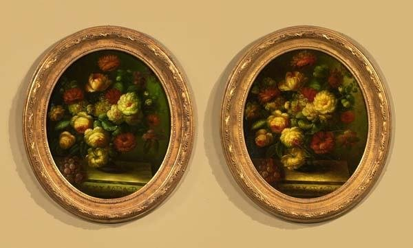 "1016: Pair of oval still life floral paintings, 27"" x 3"