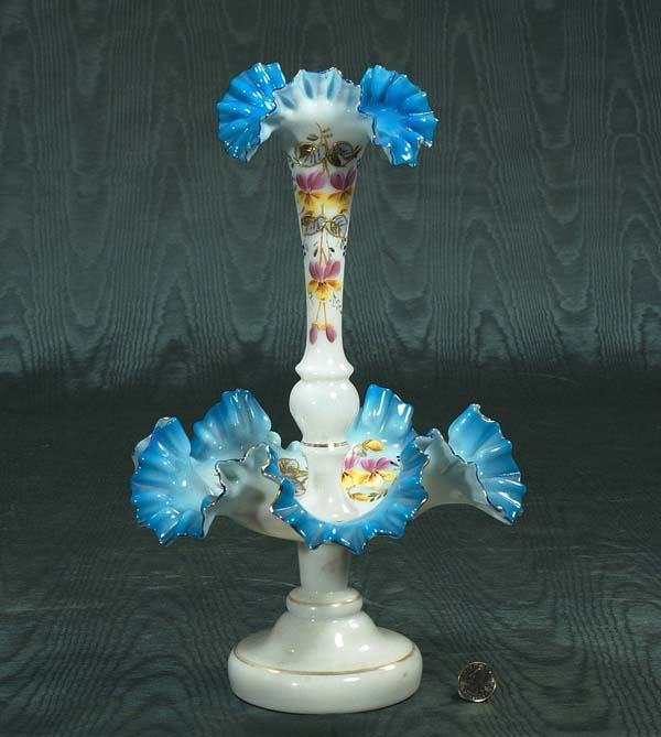 "1019: Blue and white art glass epergne, c.1900, 10"" wid"