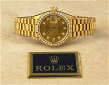 1096: Ladies 18 kt. yellow gold Date-just President Rol