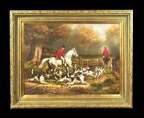 1252 Oil painting on canvas English fox hunting scene