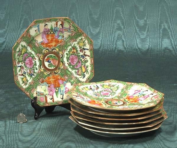 1: Group of seven Chinese Rose Medallion octagonal shap