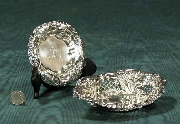 2: Oval sterling silver dish with reticulated sides and