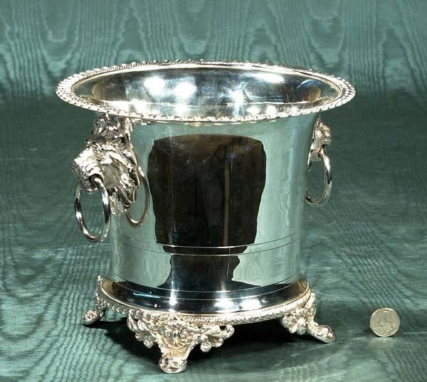 """6: Silver plated wine cooler with lion mask handles, 9"""""""