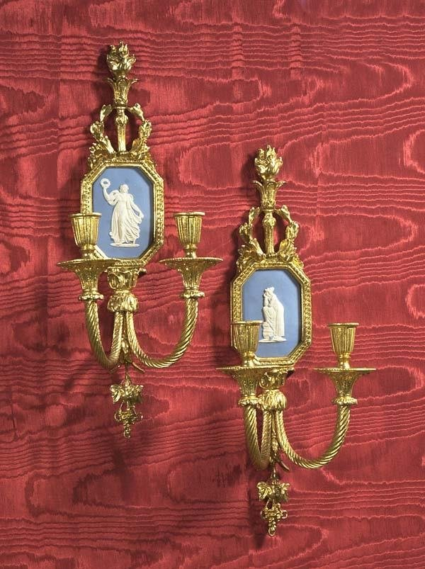 10: Pair of Chelsea House brass two branch wall sconce