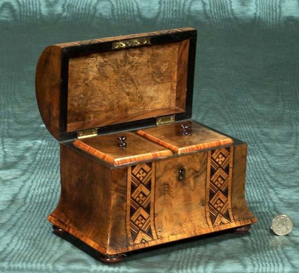 11: English walnut dome top tea caddy with parquetry in