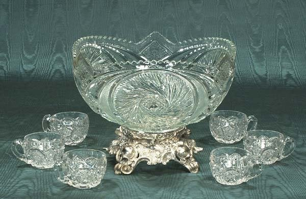 12: American pattern glass punch bowl with silver plate