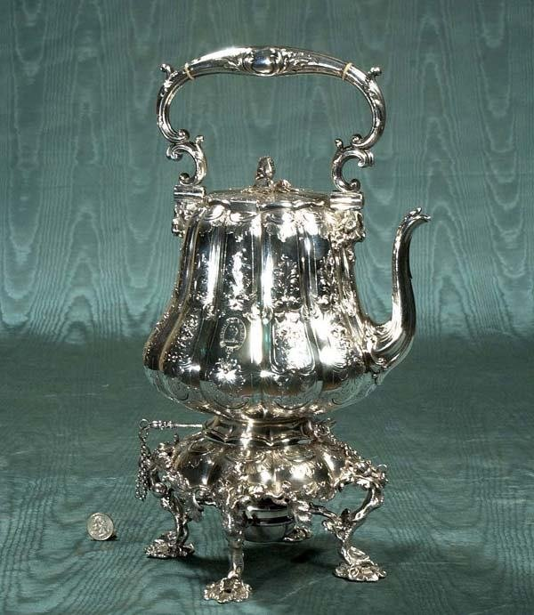 """15: Exceptional silver plated kettle on stand, 10"""" wide"""