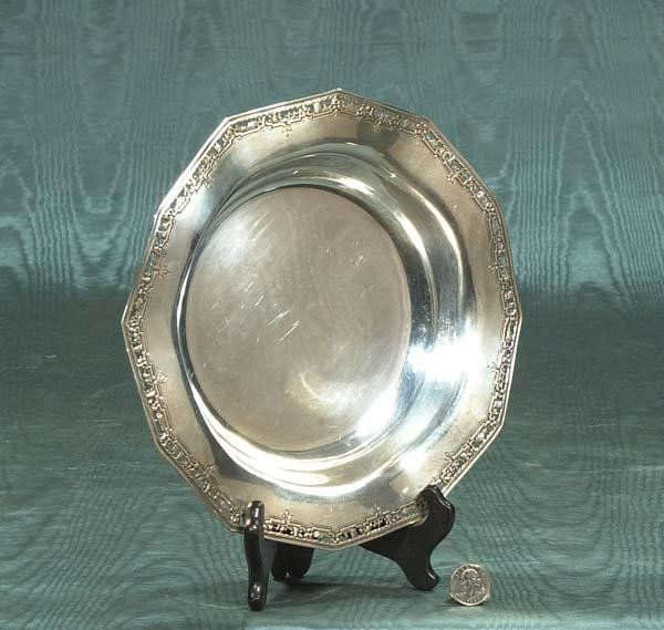 """19: Sterling silver bowl with reticulated border, 10"""" i"""