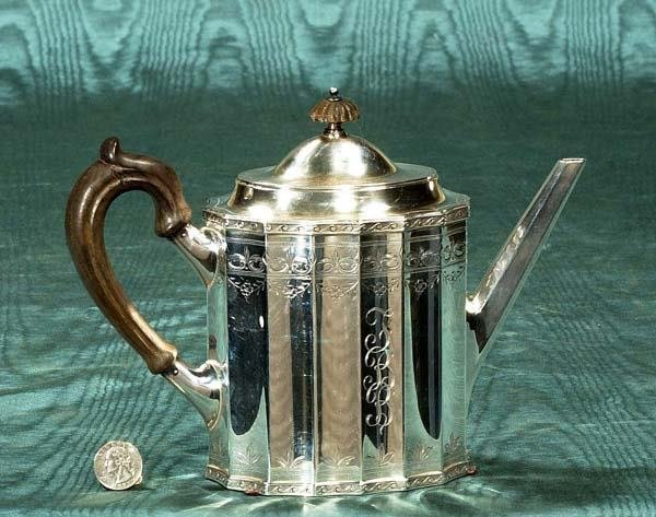 """22: Sterling silver tea pot with engraved monogram, """"FB"""