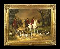 63 Oil painting on canvas English fox hunting scene w