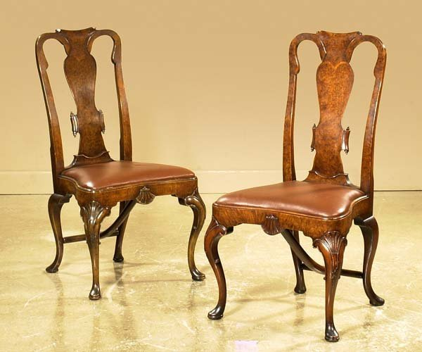 120: Pair of Queen Anne walnut side chairs with scroll