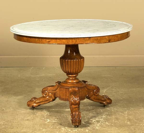 211: French walnut marble top center table on a tripod