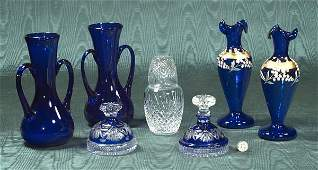 406 Two pairs of cobalt blue glass vases a blue overl