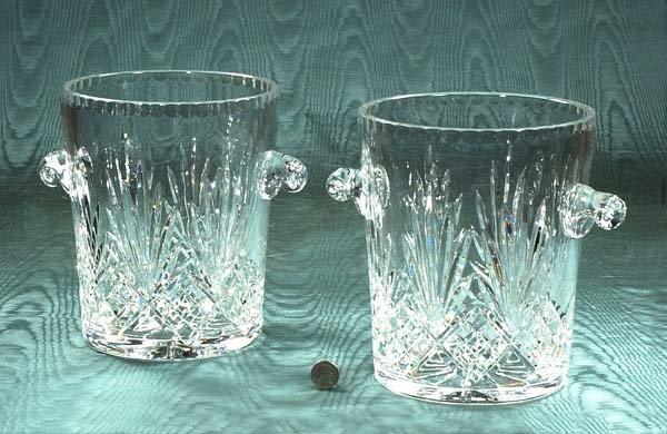 1: Pair of cut crystal champagne buckets with scroll ha