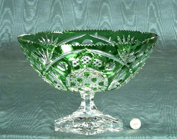 4: Oval green overlay cut crystal compote, signed by th