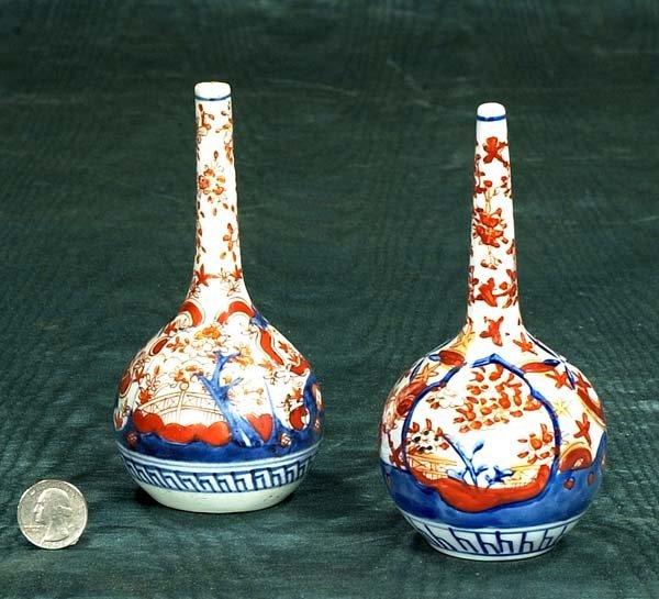 """5: Pair of Imari bottle vases, c.1880, 6"""" high"""
