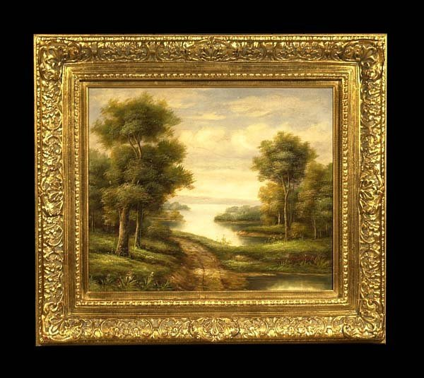 7: Oil painting on canvas, landscape with lake and moun