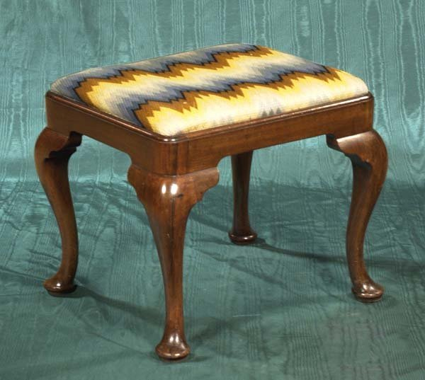 9: Queen Anne style mahogany stool on cabriole legs wit