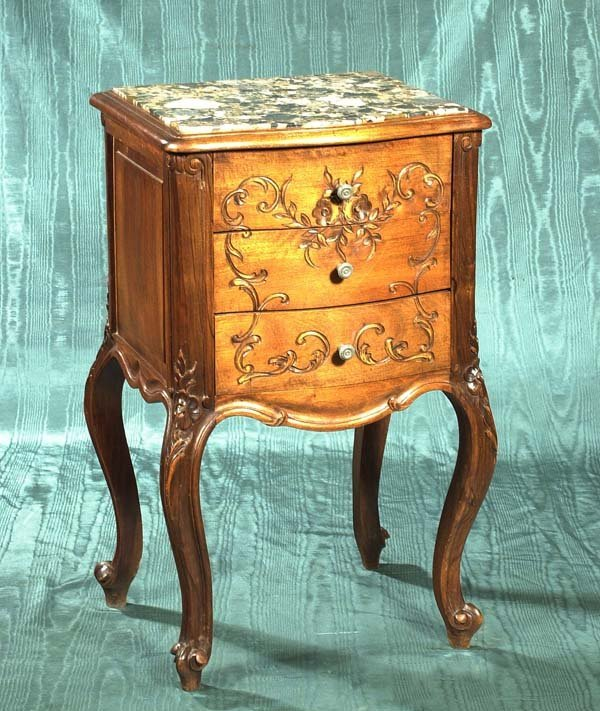 10: French three drawer marble top stand on carved cabr