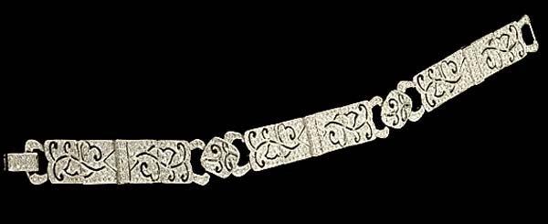 """11: 7-3/4"""", 18  kt. white gold, art deco style bracelet"""