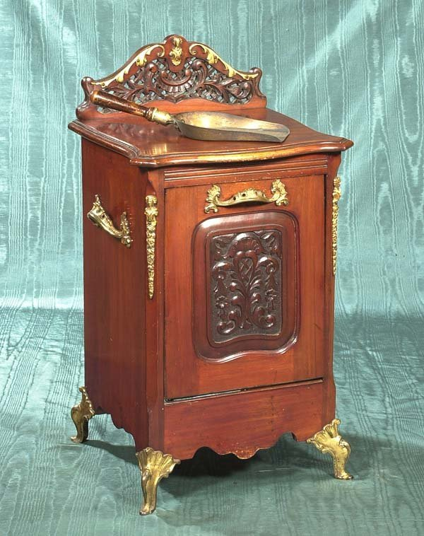 12: English mahogany coal hod with carved front panel a