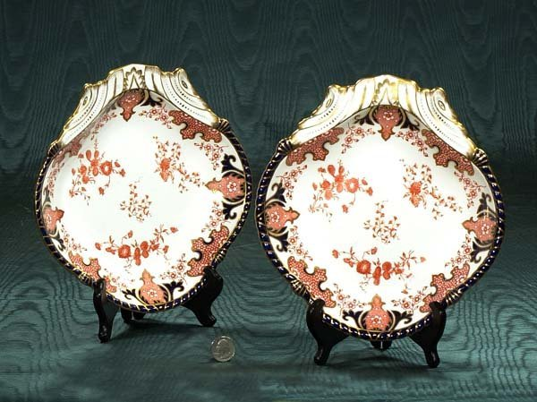 13: Pair of Royal Crown Derby fan shaped dishes with sc