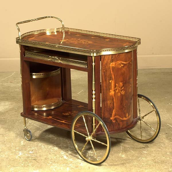 19: Rosewood tea cart with satinwood marquetry inlay an