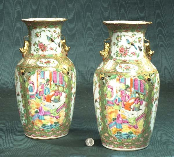 21: Pair of Chinese Rose Medallion vases with panel sce