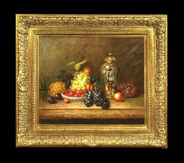 22: Oil painting on canvas, still life with an urn and