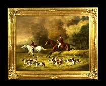 83 Oil painting on canvas English fox hunting scene w