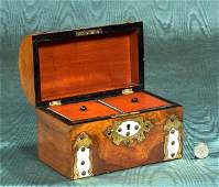 140: English walnut dome top tea caddy with brass mount