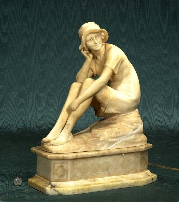 185A: Unusual Art Deco carved alabaster seated girl wit