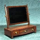 295: Sheraton mahogany bow front shaving mirror with th