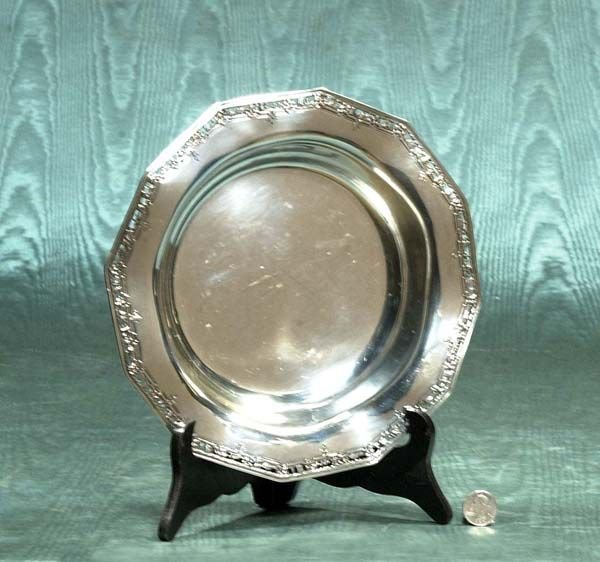 """1: 10"""" sterling silver bowl with reticulated border, c."""