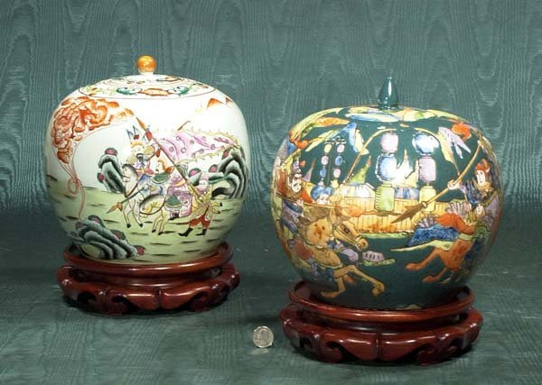 5: Two Chinese porcelain ginger jars with wooden stands