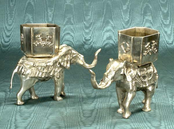 """7: Two silver elephant statues, 9"""" high"""