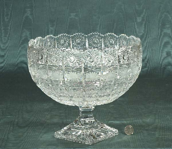 """9: Cut crystal compote in the Queen's Lace design, 11"""""""
