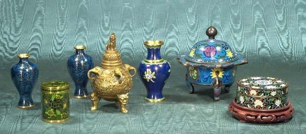 10: Cloisonné covered bowl, an oriental brass urn, thre