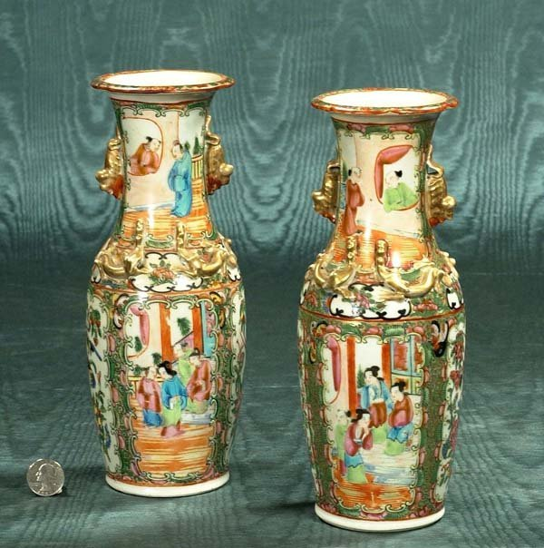 11: Pair of Chinese Rose Medallion vases with panel sce