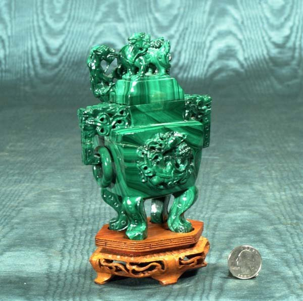 """13: Carved malachite urn on a wooden stand, 7"""" high (in"""