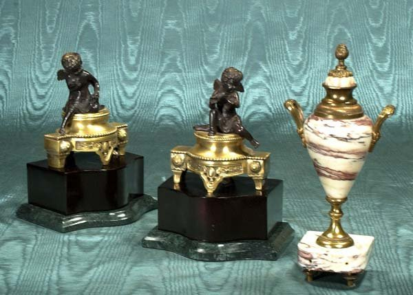 18: Small French marble urn and a pair of bronze figure