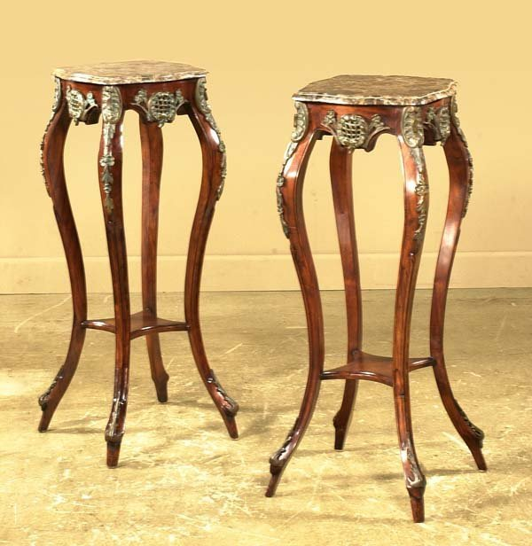 22: Pair of French style marble top stands with bronze