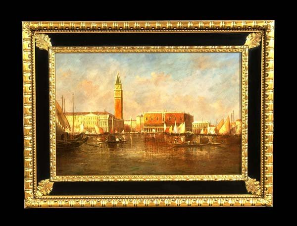 """333: Oil painting on canvas, Venetian canal scene, 35"""""""