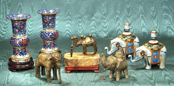 443: Two metal figures of elephants, one camel, two por