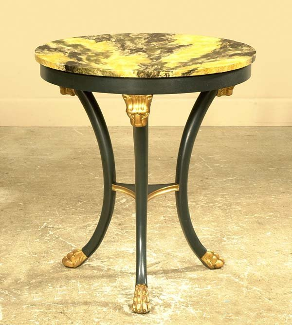 445: Empire style circular end table with gold gilt lio